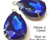 Sapphire Blue Glass Beads - 18x13 Teardrop - Rhinestone Earrings or Pendants - 18mm x 13mm - Set Stones - Cobalt - Glass Gems - One Pair