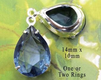 Montana Sapphire Vintage Glass Beads - 14x10 Teardrop or Pear - Vintage Rhinestone Beads - Sheer Blue Teardrops - 14mm x 10mm - One Pair