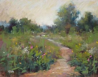 Summer PRAIRIE garden wildflowers Landscape Original Pastel Painting Karen Margulis 8x10