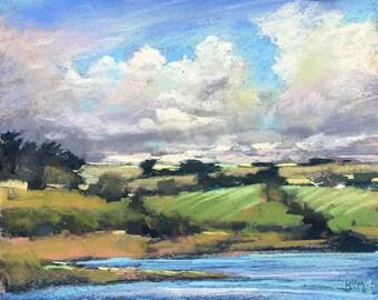 IRELAND Green hills Clouds plein air  Landscape Original Pastel Painting Karen Margulis 8x10
