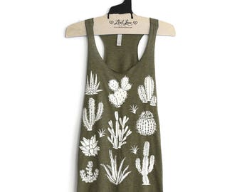 SALE XL- Olive Tri-Blend Teal Racerback Tank with Cactus Screen Print
