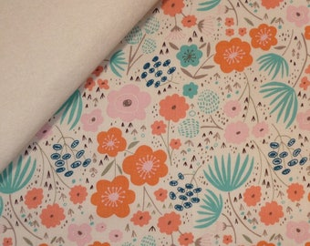 Ava Rose fabric felt  :  Large Floral on Natural