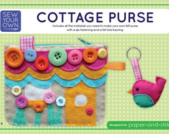 Cottage Purse & Little Bird Keyring -  Medium Kit - Felt sewing kit