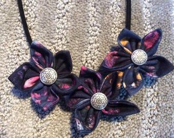 Dark Blue Purple Pink Fabric Flower Statement  Necklace