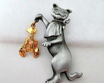 Cat with Lobster Pin Brooch - AJC Jewelry - Vintage Cat Pin - Costume Jewelry - Cat Jewelry Gift
