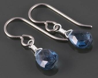 London Blue Topaz Earrings. Titanium Ear Wires. Genuine Gemstone. December Birthstone. Lightweight Earrings. s17e085