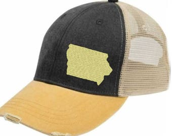 Distressed Snapback Trucker Hat -  Iowa off-center state pride hat - Many Colors available