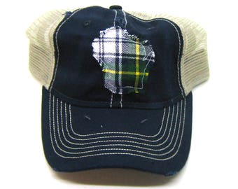 Clearance - Sale - Gift - Gracie Designs Hat - Plaid Flannel WIsconsin on Navy Distressed Trucker