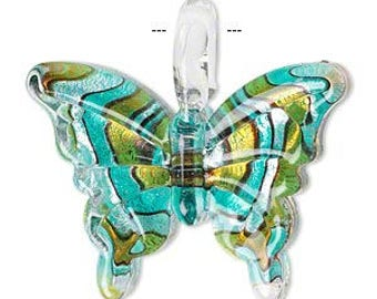 Beautiful Single-Sided Lampwork Butterfly with Swirled Design Pendant Charm Bead 38x34mm