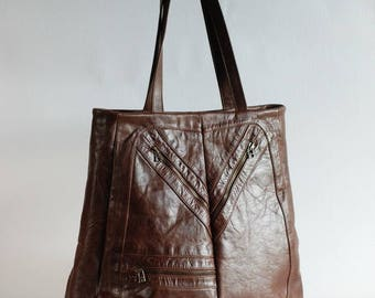Brown leather tote bag, leather handbag, up-cycled handbag, zipper pockets, vintage leather, up-cycled leather, genuine leather