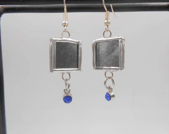 Small Mirror Earrings with royal blue Rhinestone Charm light weight reflective