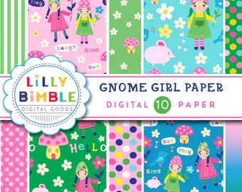 60% off Cute Gnome Girl Digital Paper, Elves, Fairies, BIrthday Party, Mushroom House, Flower, Instant Download