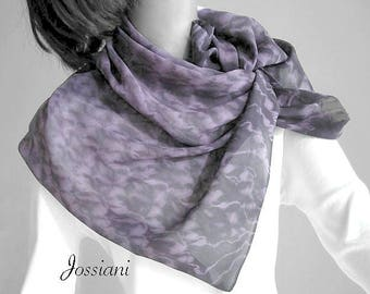 Tie Dye Small Silk Scarf Handkerchief Neckkerchief, Hand Dyed Shibori Chiffon, Muted Lavender Dark Eggplant Gray, One of a Kind Jossiani
