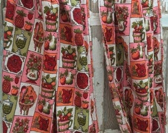 CRAZY SALE- Vintage Kitchen Curtains-Red and Pink-Like New