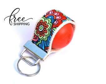 LippyLoop™ EOS Holder Keychain, Purple with Flowers  | Free Shipping
