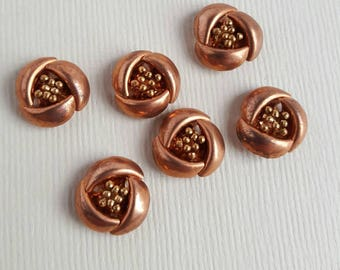 Vintage copper flower cabochons