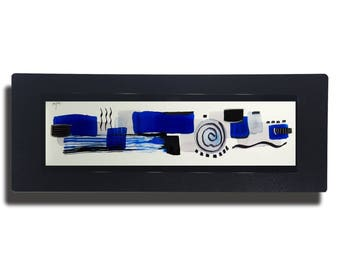 Blue, White & Black Metal Painting, Modern Metal Art, Abstract Metal Wall Accent, One of a Kind Modern Home Decor - JC 435 by Jon Allen