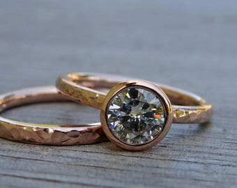 RESERVED for Matthew - Engagement Ring - Forever One GHI Moissanite and Recycled 14k Rose Gold, Made to Order - Eco-Friendly