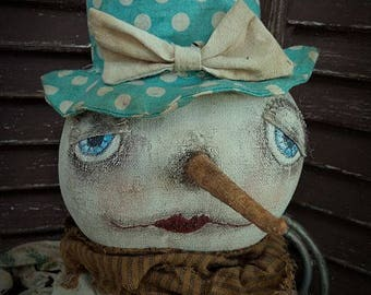 MUSTARD SEED ORIGINALS, Primitive, Winter, Snow, Snowman, Snowflake, Doll by Folk Artist Sharon Stevens