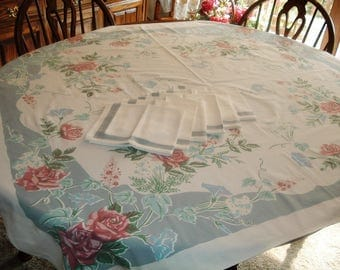 Vintage Tablecloth and Napkin Set Lovely Pale Blue and Pink Floral 45 x 50 inches