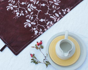 chocolate brown rosehips red cotton tea towel