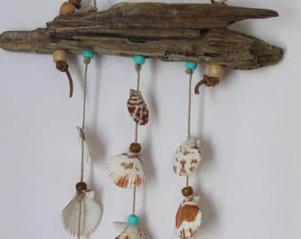 Driftwood and Seashell Windchime, Patio and Garden Decoration, Hanging Shells with Beads, Natural Wood and Shells Mobile, Beach House Decor