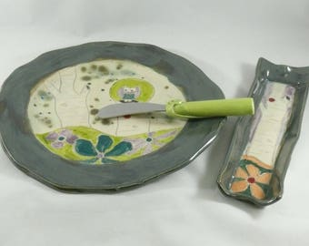 Green Ceramic Plate, Pottery platter, lunch plate, snack dish, salad plate, cookie tray, appetizer dish, kitchen dinnerware, serving dish