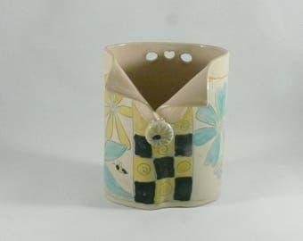 Oval Save the Bees Vase, Ceramic Toothbrush Holder, Soap Dispenser, Pencil Holder, Eyeglass Holder, Spoon Holder, Anniversary Gift 042