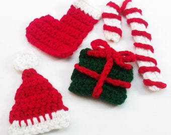 Crochet Christmas Appliques, Candy Cane Applique, Stocking Applique, Santa Hat, Gift Applique, Christmas Embellishment, Holiday Applique,