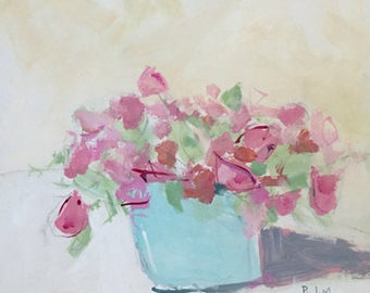 pink flower painting on wood 14x14 original acrylic painting pink roses pink and blue impressionistic art