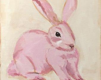 bunny painting rabbit pink bunny animal art original painting 12x12 acrylic on canvas