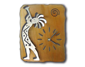 Kokopelli Trumpet Southwest Cutout Wall Clock - Brown Rust Finish