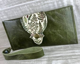 Leather Long Wallet fits Passport/ Phone with Wrist Strap & Zipper Pocket Green/ Fern Digital Print on 100% Genuine Leather