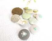 CLEARANCE - 12 green mix fabric covered buttons, mixed sizes