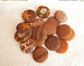 CLEARANCE - 16 nut brown fabric covered buttons, size 60, 1.5 inches