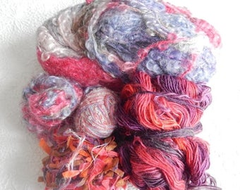 CLEARANCE - Pink and blue yarns, thick yarns, thin yarns, great for fringe and accents, over 1 pound of yarns