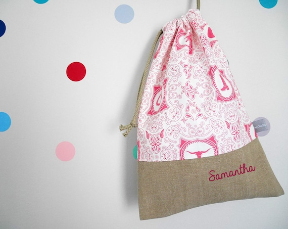 Customizable drawstring pouch - cuddly toy bag - name - kindergarden - western - bandana - horse - pink - slippers or toys bag