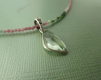flower valley - purple, green tourmaline and green amethyst necklace
