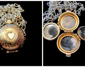 Silver and Gold - Vintage Coro 4 Picture Locket Necklace