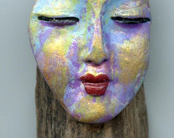Driftwood Small Wall Hanger with Abstract Buddha Face and handmade clay bead DWH 4