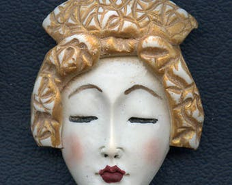 OOAK Polymer Clay One of a kind Detailed Asian  Face with Textured Hat ASG 7