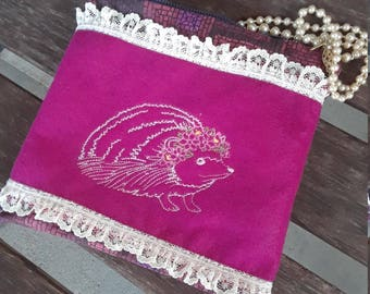 Embroidered Hedgehog Zippered Lined Fabric Pouch