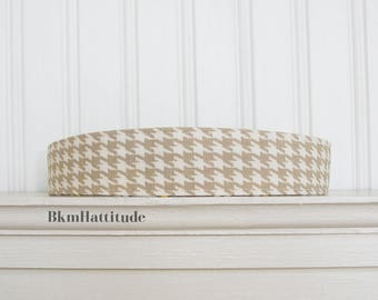Taupe and White Houndstooth Headband - Adult Headband - Womens Fabric Headband - Womens Hair Accessories
