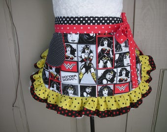 Womens Aprons - Wonder Women Aprons - Wonder Women Halloween Aprons - Annies Attic Aprons - Etsy Aprons - Teacher Gifts - Hostess Gifts