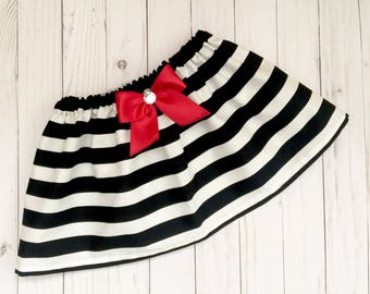 BOUTIQUE..black and white striped SKIRT with red accent bow ---girls clothing