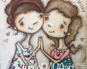 RESERVED FOR KATIE. Original Folk Art Mixed Media Whimsical Painting - Cheek to Cheek  - Free U.S. Shipping