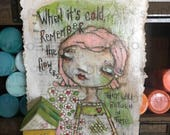RESERVED FOR STACY Original Folk Art Mixed Media m Valentine Cereal Box Art - Smile and Know - Free U.S. Shipping