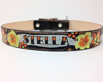 Personalized Leather Dog Collar, Custom Leather Dog Collar, Handmade personalized gift, Tattoo Style Banner, FREE Name, Flower dog collar