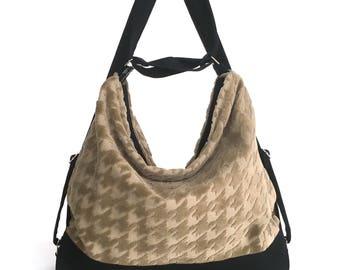 Convertible backpack, Khaki shoulder bag ,Fabric hobo bag, Backpack purse,Convertible shoulder bag, Vegan handbag, Ready to ship, Hobo purse