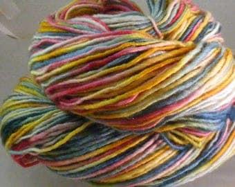 SALE... Was 8.50... Now 6.00...SPRING FLING...handspun, handpainted wool yarn...4oz...185yd